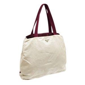 Prada off white and maroon nylon XL tote bag